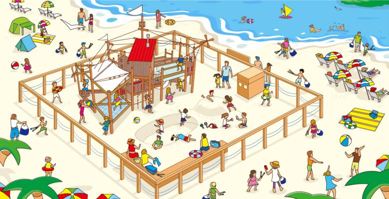 江の島片瀬東浜のビーチに、ちびっこ向けの新しい遊び場がOPEN!