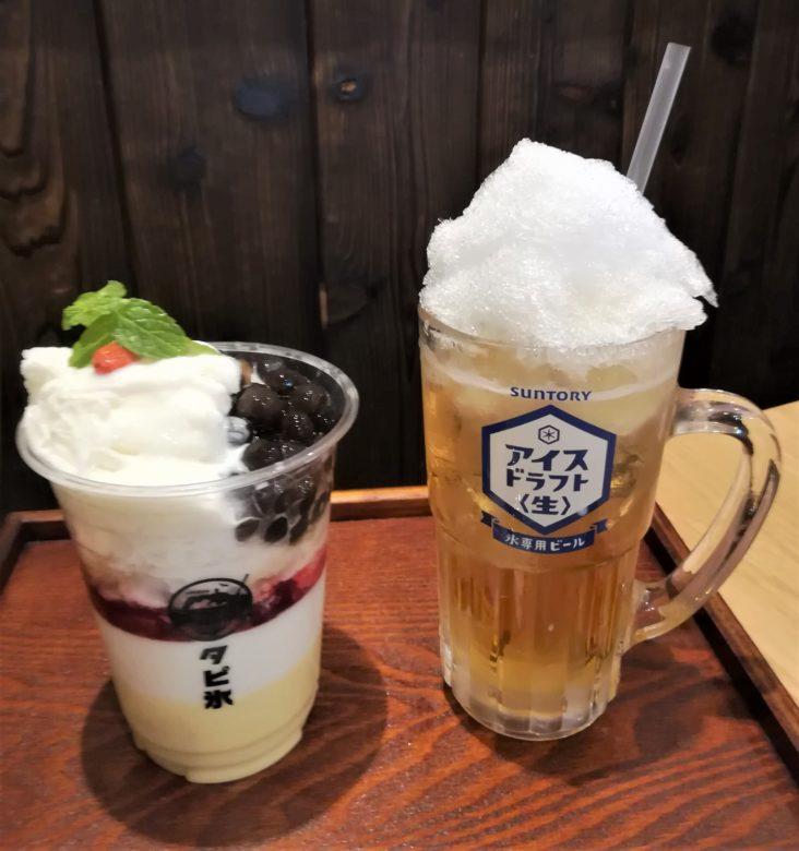 タピ氷とアイスビール
